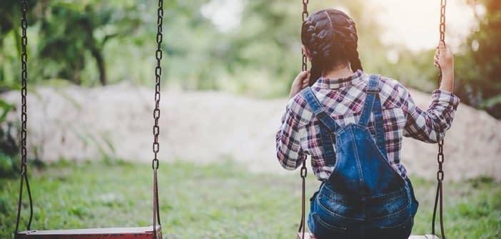 Sad young Girl on a swing